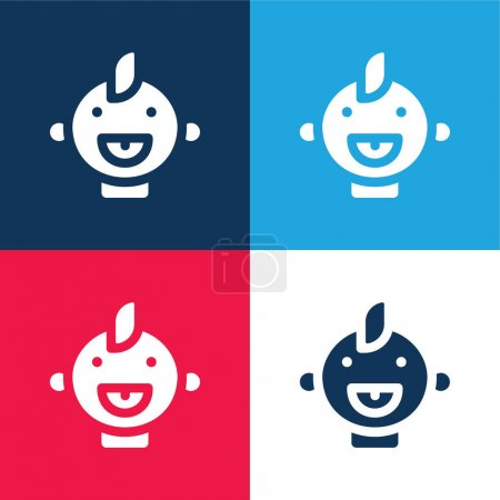 Baby blue and red four color minimal icon set