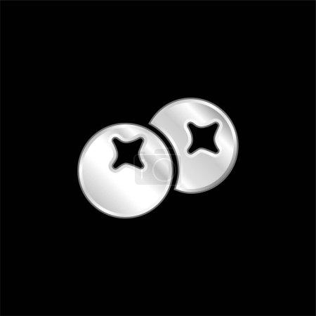 Illustration pour Baies argent plaqué icône métallique - image libre de droit