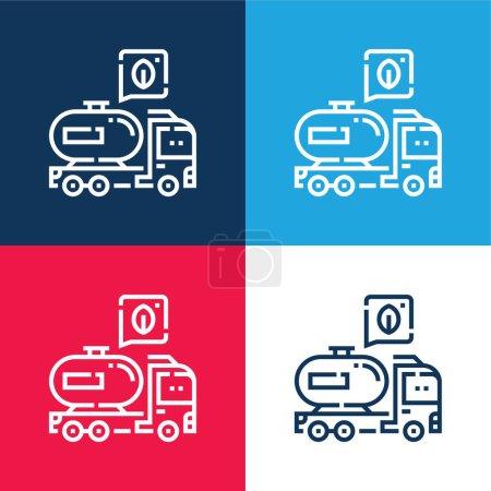 Photo pour Ensemble d'icônes minime biodiesel bleu et rouge quatre couleurs - image libre de droit
