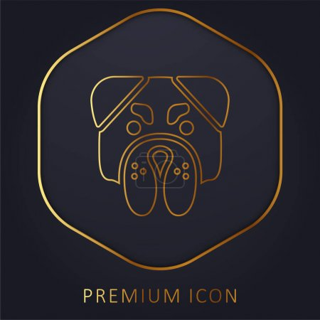 Photo pour Colère Bulldog visage ligne d'or logo premium ou icône - image libre de droit