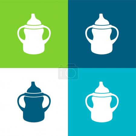 Photo pour Variante de biberon avec poignée des deux côtés Ensemble minimal d'icônes plat de quatre couleurs - image libre de droit