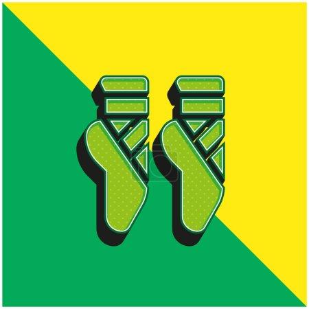 Ballet Green and yellow modern 3d vector icon logo