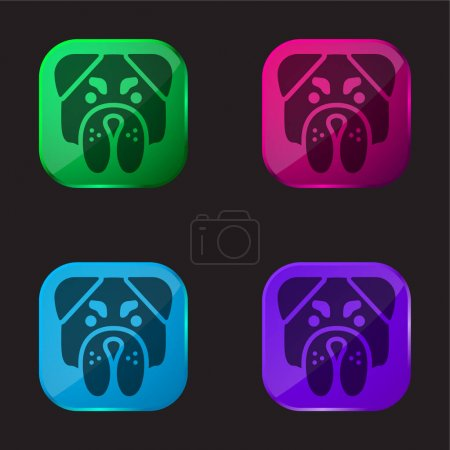 Photo for Angry Bulldog Face four color glass button icon - Royalty Free Image