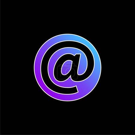 Illustration pour Au symbole à l'intérieur d'un cercle bleu dégradé icône vectorielle - image libre de droit