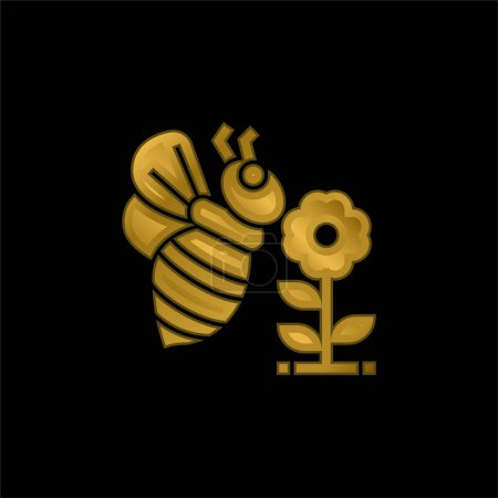 Illustration for Bee gold plated metalic icon or logo vector - Royalty Free Image