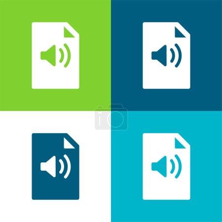 Audio File Flat four color minimal icon set