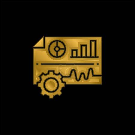 Photo pour Analyse icône métallique plaqué or ou vecteur de logo - image libre de droit