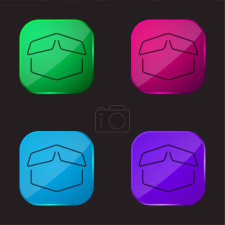 Box Opened Outline four color glass button icon