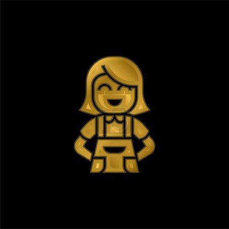 Illustration pour Tablier plaqué or icône métallique ou logo vecteur - image libre de droit