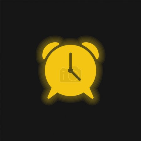 Illustration for Alarm yellow glowing neon icon - Royalty Free Image