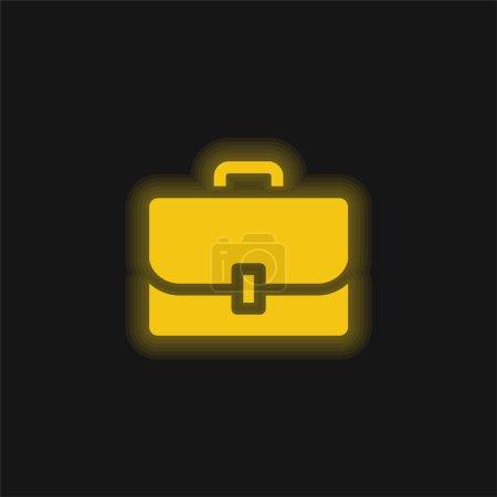 Illustration pour Porte-documents jaune brillant icône néon - image libre de droit