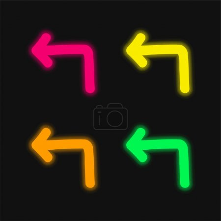 Illustration for Back Arrow Pointing Left Hand Drawn Symbol four color glowing neon vector icon - Royalty Free Image