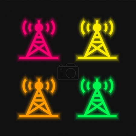 Antenna four color glowing neon vector icon