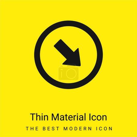 Illustration pour Flèche pointant vers le coin inférieur droit icône matérielle jaune vif minimale - image libre de droit