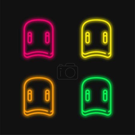 Illustration pour Icône vectorielle néon lumineuse aquatique à quatre couleurs - image libre de droit