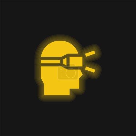 Photo pour Réalité augmentée jaune brillant icône néon - image libre de droit