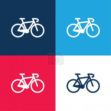 Bicycle blue and red four color minimal icon set