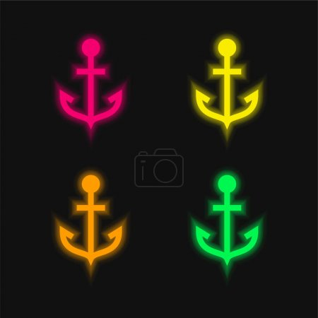 Illustration pour Ancre quatre couleurs rougeoyantes icône vectorielle néon - image libre de droit