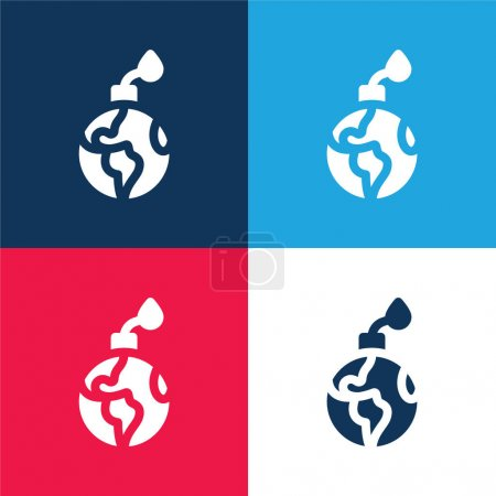 Illustration for Bomb blue and red four color minimal icon set - Royalty Free Image