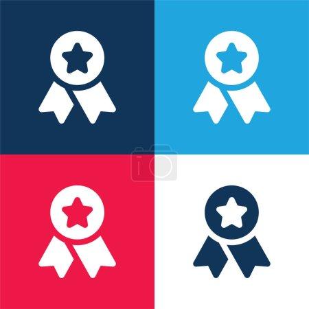 Illustration pour Badge bleu et rouge quatre couleurs minimum jeu d'icônes - image libre de droit