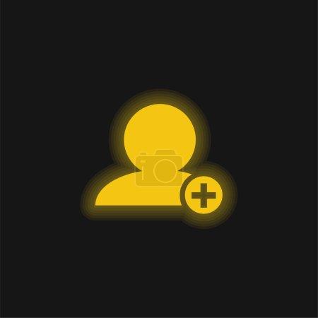 Illustration pour Ajouter des personnes Interface Symbole De La Personne Noire Gros Plan Avec Plus Se Connecter Dans Petit Cercle jaune néon brillant icône - image libre de droit