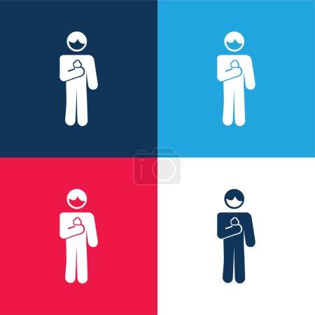 Illustration pour Garçon avec cône de crème glacée En bleu et rouge quatre couleurs ensemble d'icône minimale - image libre de droit