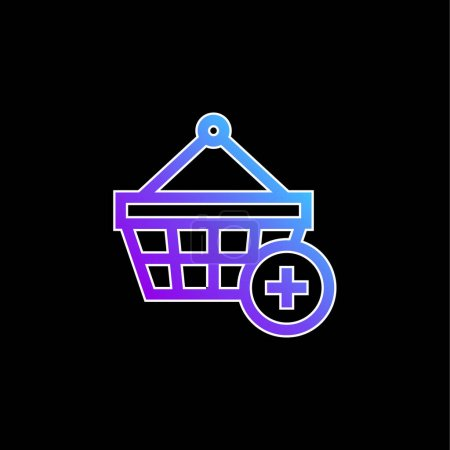 Illustration for Add To Shopping Basket blue gradient vector icon - Royalty Free Image