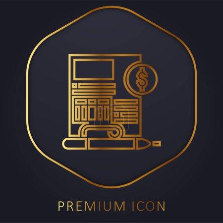 Balance Sheet golden line premium logo or icon
