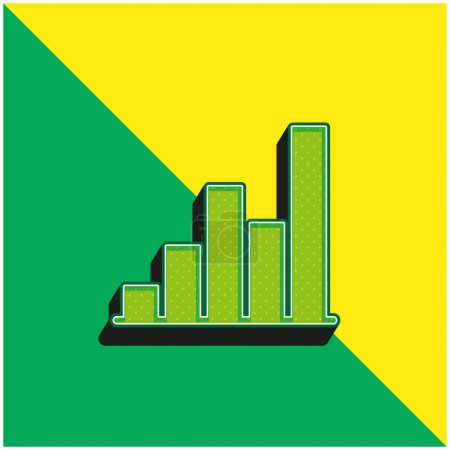 Illustration for Bar Chart Green and yellow modern 3d vector icon logo - Royalty Free Image