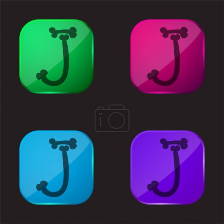 Bones Halloween Typography Letter J four color glass button icon