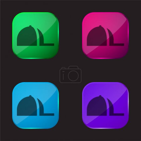 Illustration for Baseball Cap four color glass button icon - Royalty Free Image