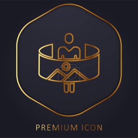360 línea de oro logotipo premium o icono