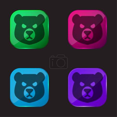 Foto de Cabeza de oso icono de botón de cristal de cuatro colores - Imagen libre de derechos