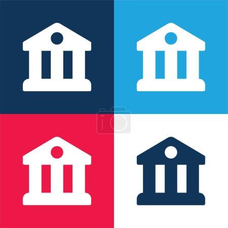 Illustration pour Ensemble d'icônes minimum quatre couleurs bleu et rouge Banque - image libre de droit