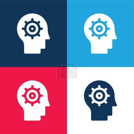 Illustration pour Intelligence Artificielle bleu et rouge ensemble d'icônes minimes quatre couleurs - image libre de droit