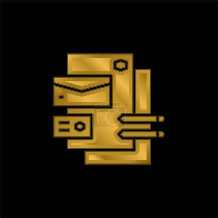 Illustration pour Image de marque plaqué or icône métallique ou logo vecteur - image libre de droit