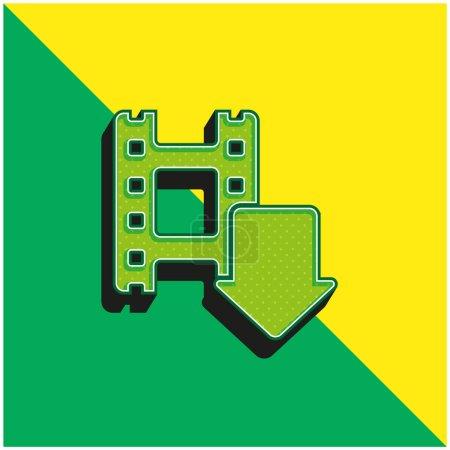 Flecha verde y amarillo moderno logotipo icono del vector 3d