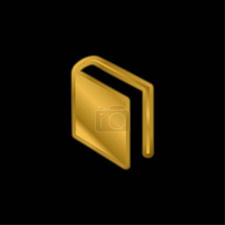 Illustration pour Livre de couverture noire en position diagonale plaqué or icône métallique ou logo vecteur - image libre de droit