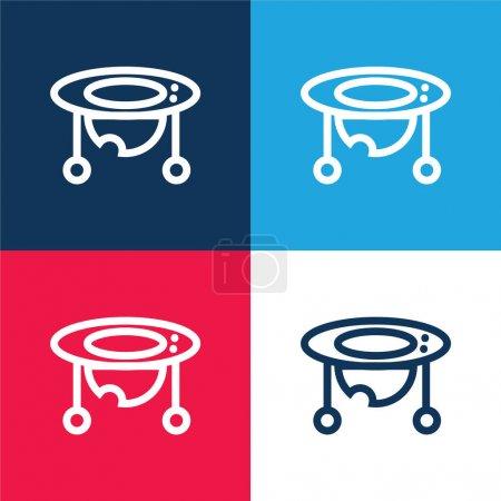 Baby Walker blau und rot vier Farben minimales Symbol-Set