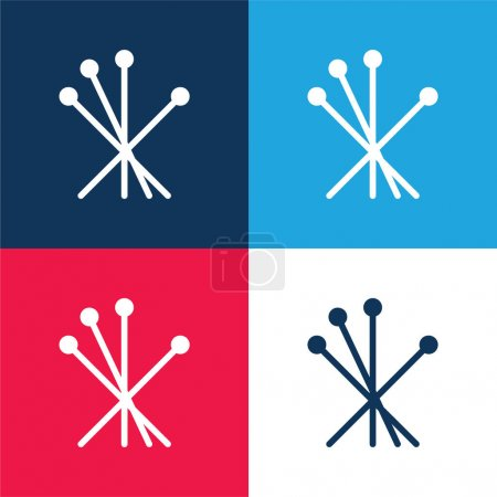 Acupuncture blue and red four color minimal icon set