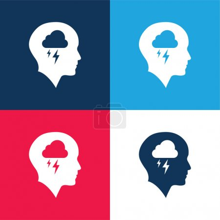 Illustration for Bald Head With Cloud And Storm blue and red four color minimal icon set - Royalty Free Image