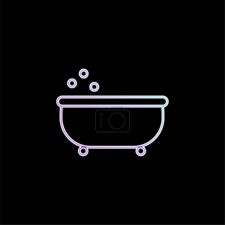 Bañera Esquema azul gradiente vector icono