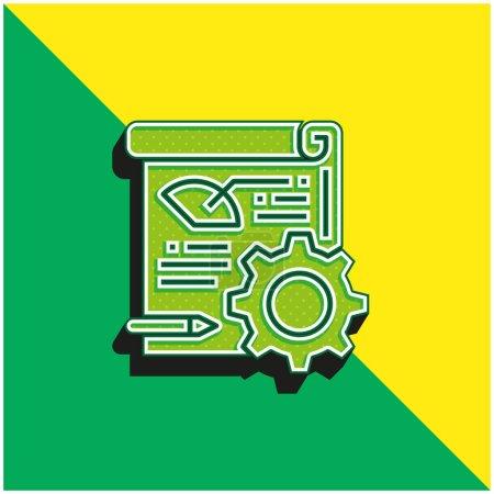 Photo pour Analytics Logo vectoriel 3D moderne vert et jaune - image libre de droit