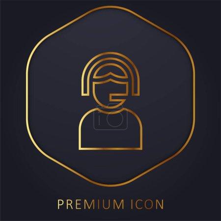 Illustration pour Assistance ligne dorée logo premium ou icône - image libre de droit