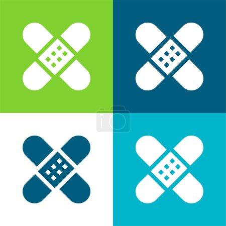 Illustration for Bandage Flat four color minimal icon set - Royalty Free Image
