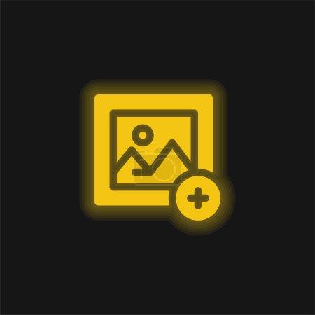 Illustration pour Ajouter une image jaune brillant icône néon - image libre de droit
