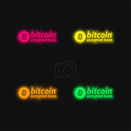 Illustration pour Bitcoin accepté ici Logo quatre couleurs rougeoyantes icône vectorielle néon - image libre de droit