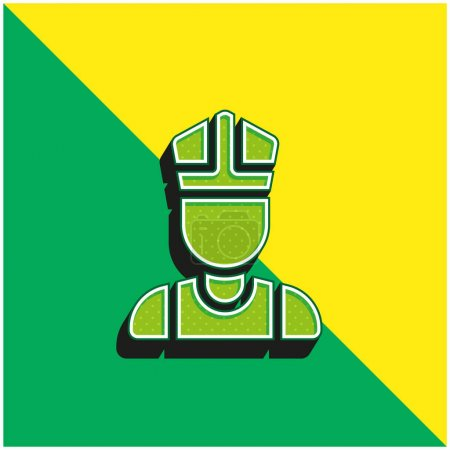 Illustration pour Bishop Logo vectoriel 3d moderne vert et jaune - image libre de droit