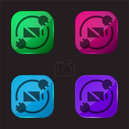 Illustration pour État de la batterie icône bouton en verre quatre couleurs - image libre de droit