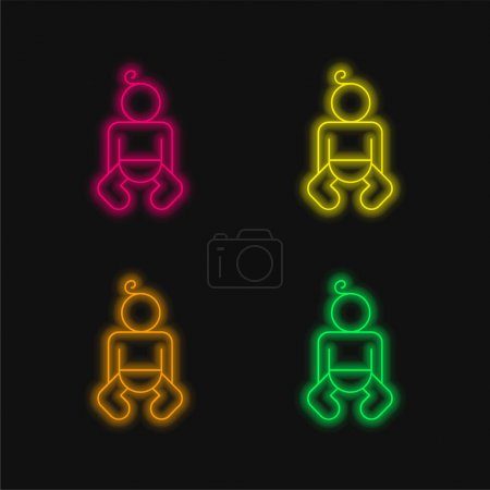 Baby Body Outline four color glowing neon vector icon